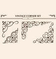 vintage corner set vector image vector image