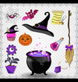 witch accessories set in purple color isolated on vector image