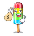 with money bag colorful ice cream sticks on vector image vector image