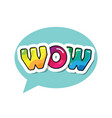 wow inscription cartoon bold colorful letters in vector image vector image