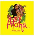 aloha hawaii girl dancing hula background i vector image