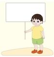 Boy holding blank banner vector image