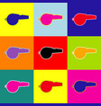 whistle sign pop-art style colorful icons vector image