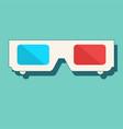 3d cinema glasses flat icon vector image
