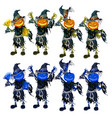a set scarecrows with heads in form of vector image vector image