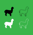 alpaca icon black and white color set vector image