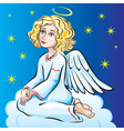 Angel sitting on a cloud vector image vector image