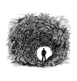 artistic drawing of cave tunnel in rock vector image