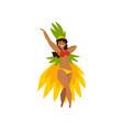beautiful brazilian girl dancing samba in festive vector image vector image