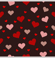 beautiful seamless pattern with pink heart on red vector image vector image