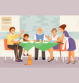 big family at dinner vector image vector image