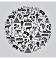 black ebola disease icons set in circle eps10 vector image