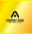 black letter a emblem with golden background vector image