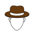 color image cartoon faceless man with brown hat vector image vector image