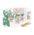colored drawing of cozy dining or living room vector image
