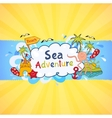 Colorful beach banner with cartoon elements vector image vector image