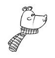 cute bear wearing scarf christmas character vector image