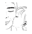 Daughter kissing father Hand drawn sketch vector image vector image