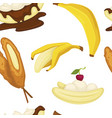 desserts types banana with peel and bread bakery vector image vector image