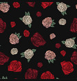 embroidery seamless pattern with roses vector image vector image