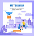 fast drone delivery square banner with copy space vector image vector image