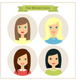 Flat Women Characters Circle Icons Set vector image