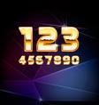 golden shiny alphabet digits vector image vector image