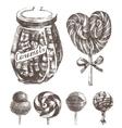 hand drawn caramels set vector image vector image