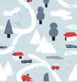 hand drawn textured winter pattern with little vector image