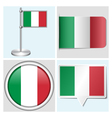 Italy flag - sticker button label flagstaff vector image vector image