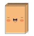 kawaii paper bag in watercolor silhouette vector image vector image