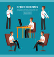 office exercises at desk diagram for health vector image vector image