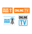 Online radio and tv signs vector image