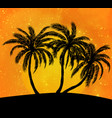 palms silhouettes at orange sunset sk vector image vector image
