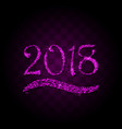 pink purple particles wave in form of 2018 vector image vector image