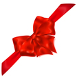 Red bow with diagonally ribbons vector image vector image