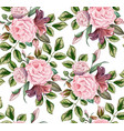 rose flower blossom leaf seamless pattern vector image vector image