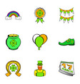 saint patrick icons set cartoon style vector image