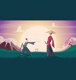 samurai background warriors in action poses asian vector image