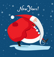santa claus is carrying gifts blue new year card vector image vector image