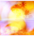 sea summer sunset with palm tree and light on lens vector image vector image