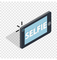 selfie word on a smartphone isometric icon vector image vector image