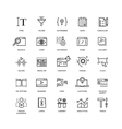 Seo and development line thin icons vector image