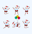 set of cute santa claus character for christmas vector image vector image