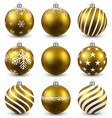 Set of realistic golden christmas balls vector image vector image