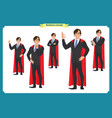 set of super businessman character man standing vector image