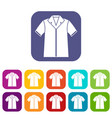 shirt polo icons set vector image vector image