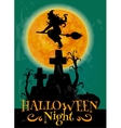 Witch on broom flying to Halloween night party vector image