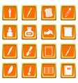 writing icons set orange vector image vector image