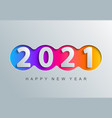 2021 new year greeting card in paper cut style vector image vector image